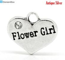 "Doreen Box Lovely Silver Color Rhinestone ""Flower Girl"" Heart Charms Pendants 16x14mm(5/8""x1/2""),20pcs (B17625)"