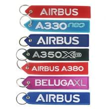 Airbus Logo A330 neo A350 A380 BELUGAXL Borduren Sleutelhanger Reizen Lange Bagage Tas Tag Gift voor Flight Crew Pilot Luchtvaart