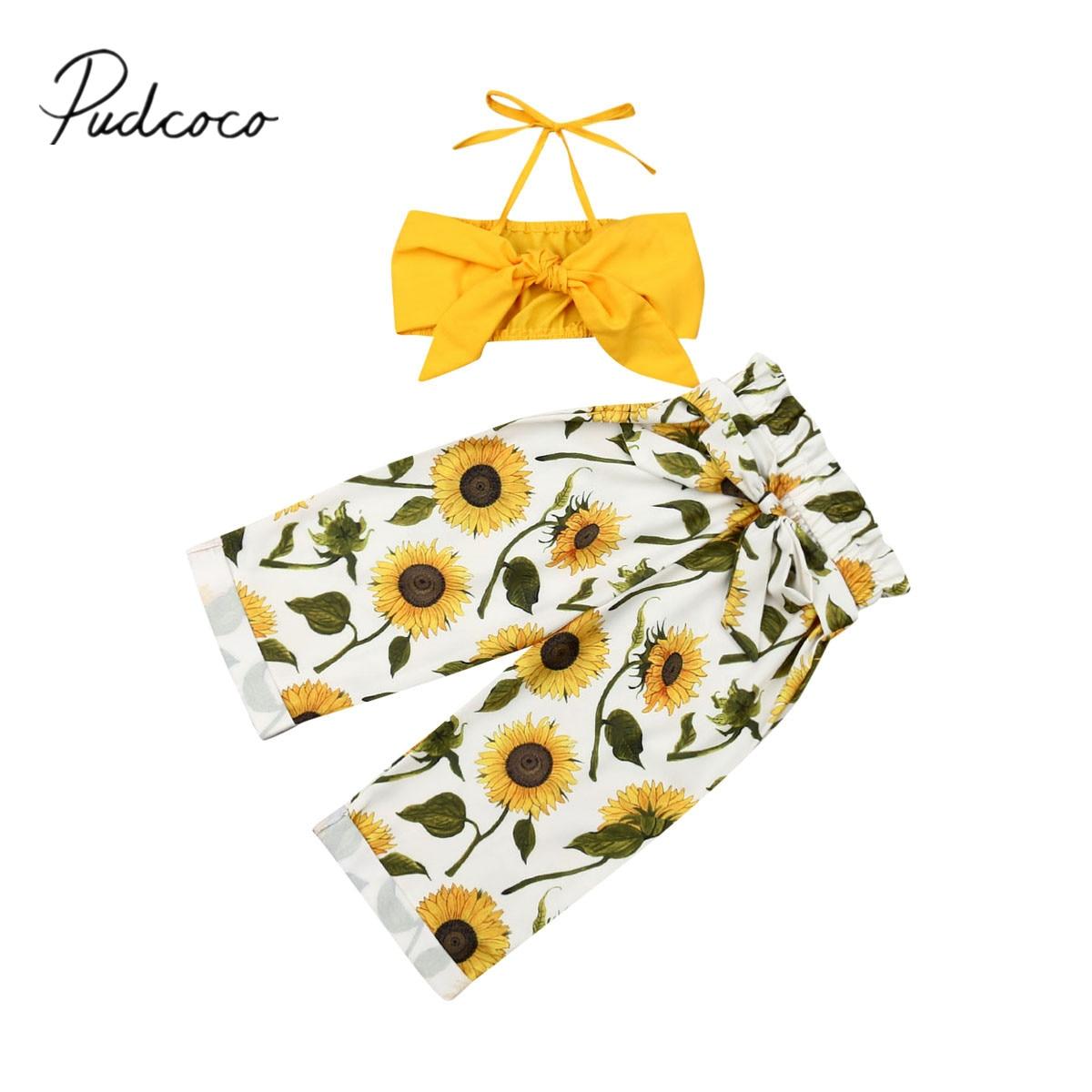 2019 ropa de bebé de verano 1-5Y niño Chico, ropa de bebé niña amarillo Correa Tops + flores pantalones largos Casual 2 piezas trajes conjunto