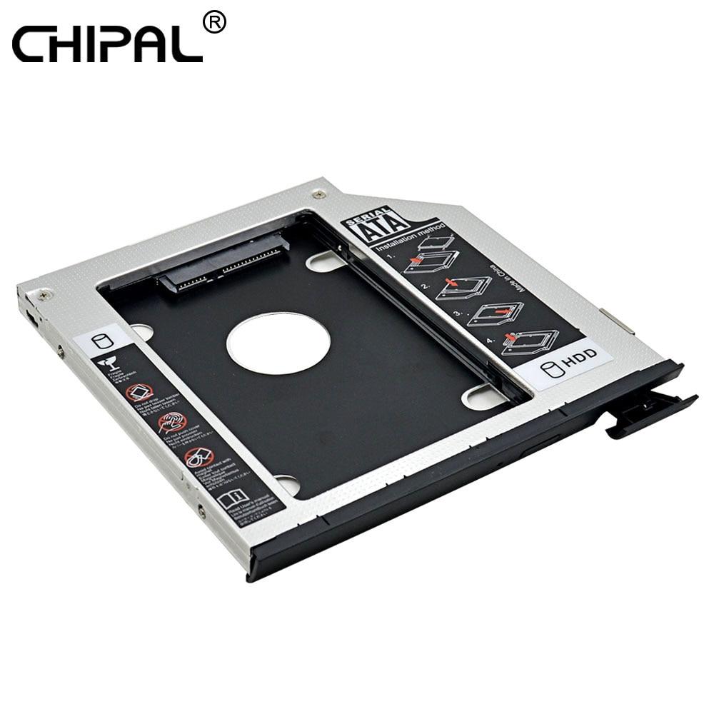 CHIPAL 2nd HDD Caddy 9,5 MM SATA III de doble LED eyector personalizado para Dell Latitude E6440 E6540 y precisión M2800 DVD-ROM