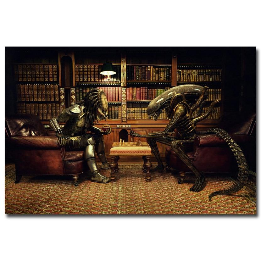 "NICOLESHENTING Alien vs Predator 3 Play Chess Movie Art Silk Poster Print 12x18 24x36"" Wall Pictures Room Decor 011"