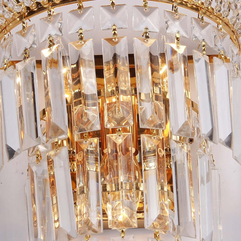 European Luxury Crystal Wall Lamp Creative 3 Heads E14 Wall Light For Living Room TV Background Aisle Corridor Home Decoration  - buy with discount