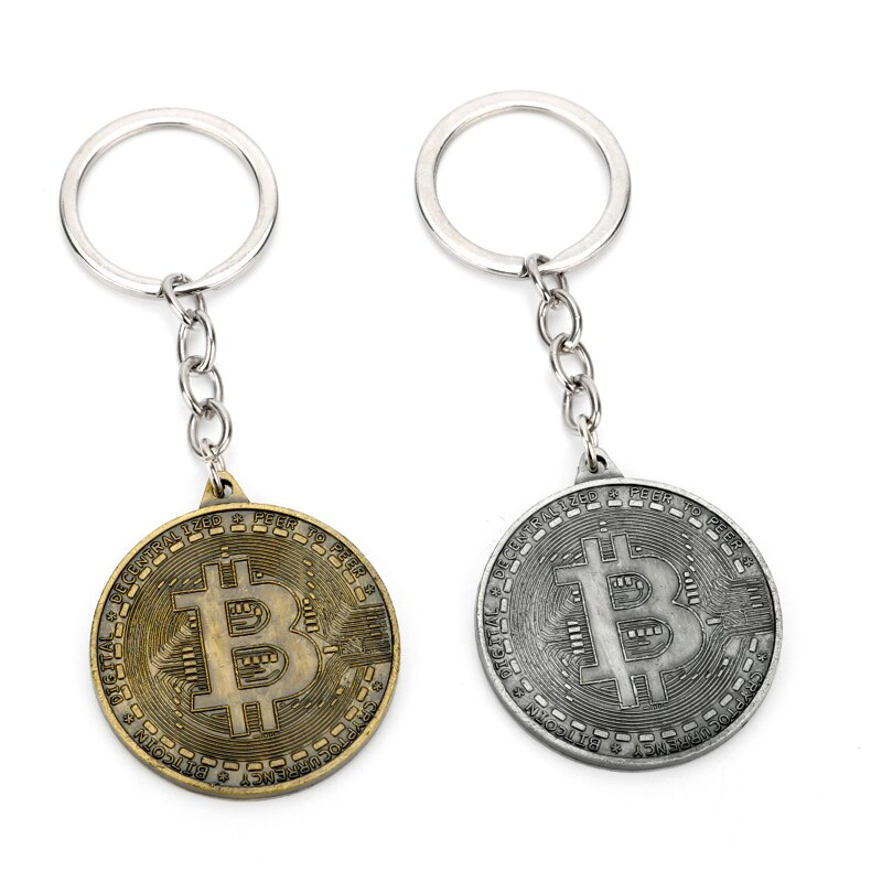 MQCHUN new hot Bitcoin keychain alloy Key Ring Holder Car Bag Key Chain women and men jewelry