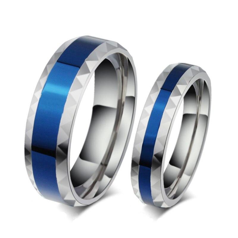 Anillo de amante romántico para mujeres y hombres, anillo de acero inoxidable para parejas, anillo de boda de titanio esmaltado azul altamente pulido, venta al por mayor
