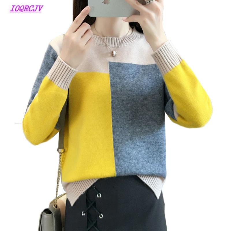 Jerseys para mujer, Jersey de punto de manga larga con retales de Color contrastante para invierno 2020, Jersey de punto para mujer, jersey de otoño W134
