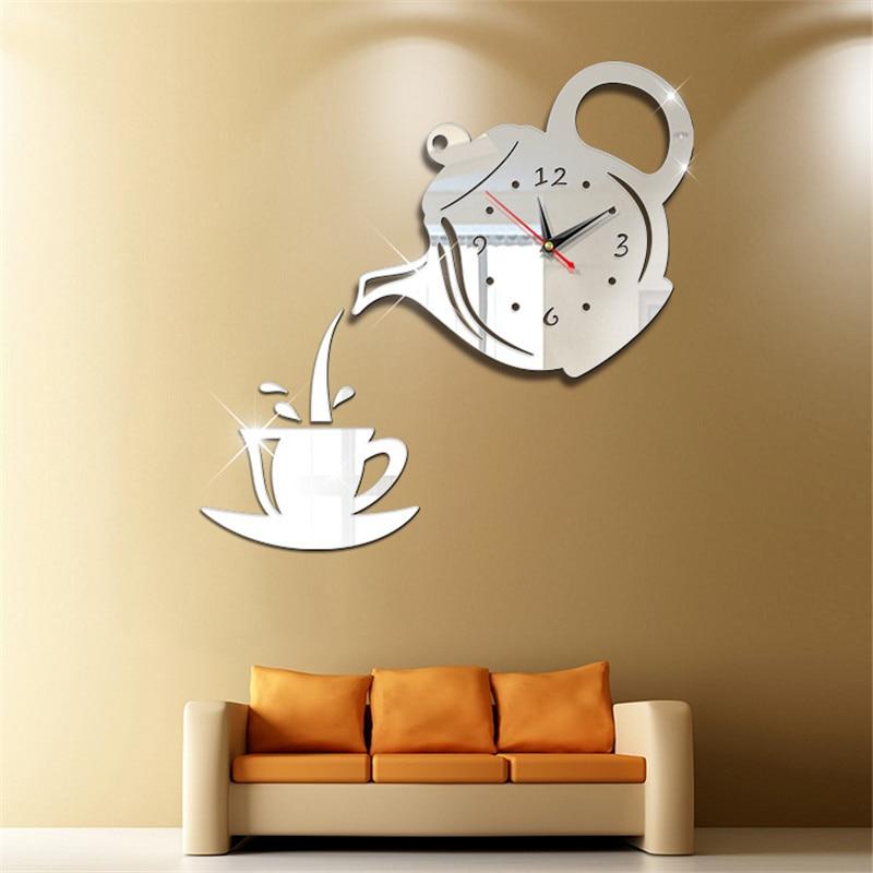 3D New mirror silent wall clock modern design diy stickers clock for living room horloge wanduhr wall watch decortion home klok