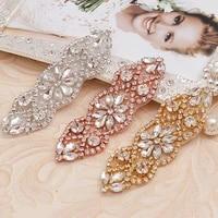 wenxi 20pcs hand beaded rhinestone applique silver crystal rhinestone applique for wedding dresses diy iron on wx853