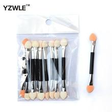 YZWLE 10pcs Disposable Dual Sided Eyeshadow Eyebrow Eyeliner Brush Sponge Tipped Oval Makeup Brush Applicator