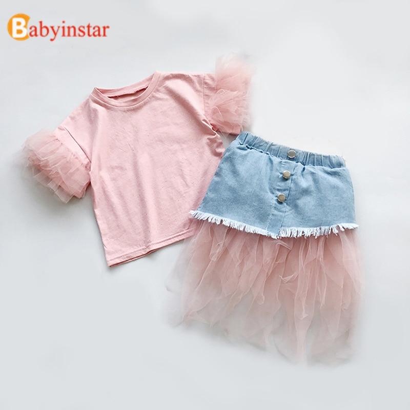 Babyinstar Childrens Sets T-shirt For Girls + Lace Denim Princess Dress 2pcs Girls Boutique Outfits Toddler Girl Summer Clothes