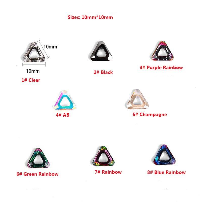100pcs 3D Triangle Nail Art Crystal Decorations Sets Glitter Shiny Nail Stone DIY Manicure Crystal Nail Rhinestone Accessory
