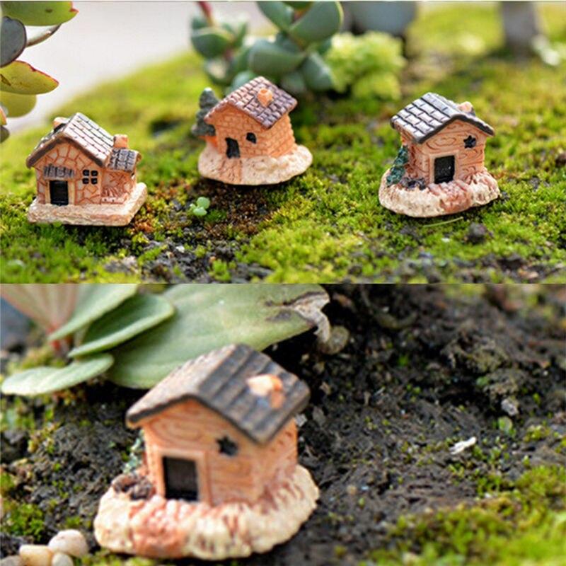 3Pcs DIY Micro fairy garden figurines kawaii wood board house miniatures/terrarium doll house decor/succulents ornaments random