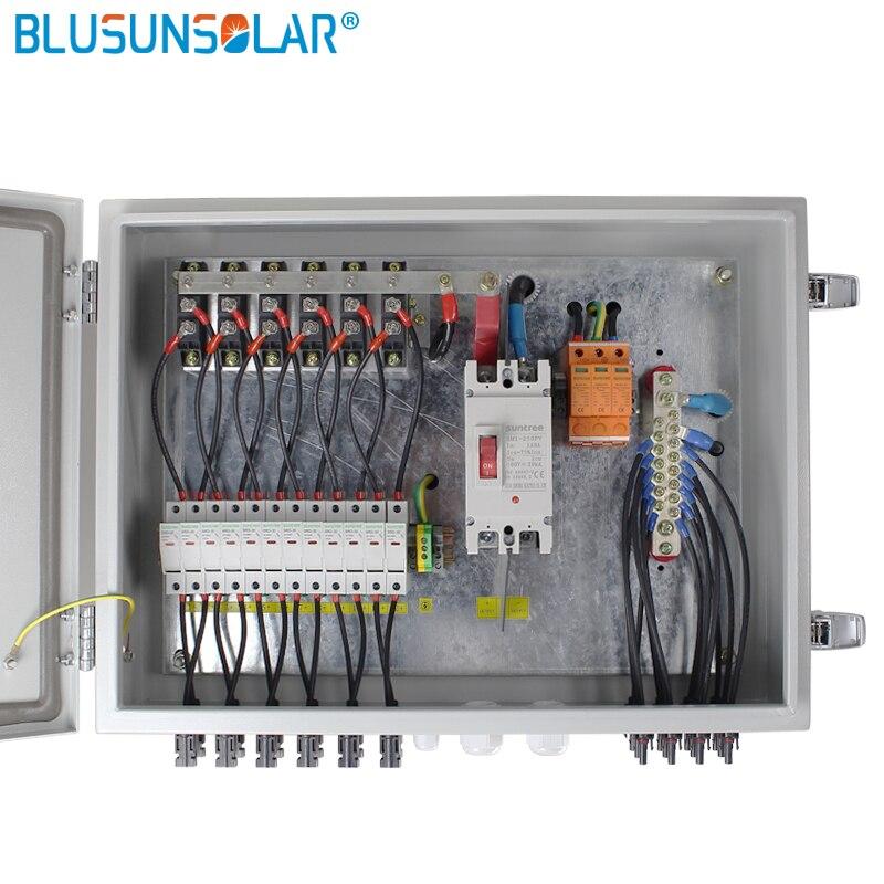 Caja combinadora de 1 Juego de acero inoxidable de calidad Hgih, 1000VDC, 12 cuerdas de entrada y 1 cadena de salida con fusible y panel de 15a