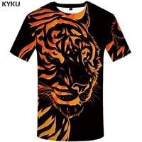 kyku brand tiger t shirt black t shirt yellow clothes animal shirts clothing tshirt men rock hip hop high quality new