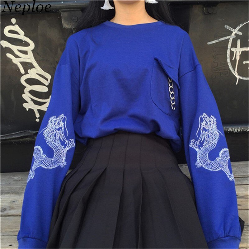 Neploe, nuevas sudaderas holgadas Harajuku, blusas de moda bordadas de manga larga para mujer, otoño 2020, sudaderas con bolsillos de cuello redondo, sudaderas femeninas 67906