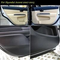 teeze 4pcs new interior carbon fiber doors side edge anti kick protection pad sticker for hyundai accent 2007 2015