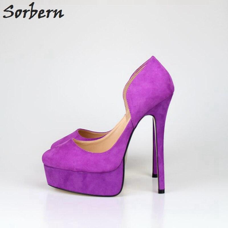 Sorbern 16 Cm de tacón alto 4 Cm de plataforma zapatos de tacón para mujer 2018 zapatos de tacón de mujer con punta estrecha talla grande 40 -48 zapatos Unisex