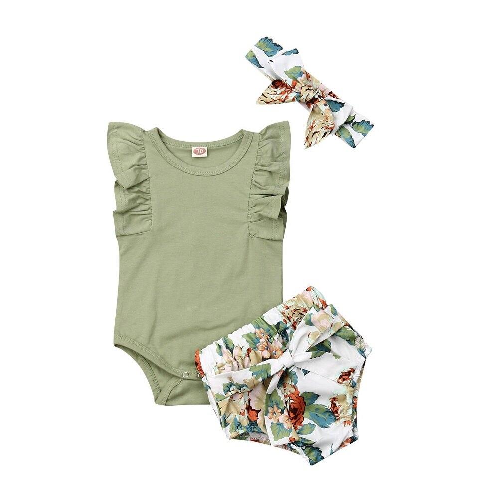 Одежда для новорожденных и маленьких девочек 0-24 месяцев, комбинезон с рукавами с оборками, комплект с шортами с цветочным принтом