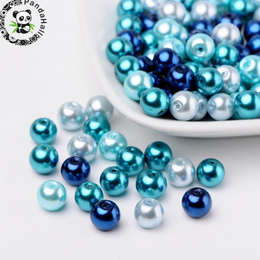100pc Carribean Blue Mix perlas de vidrio perlado cuentas de color mezclado para DIY joyería encontrar collares pulseras suministros, 8mm