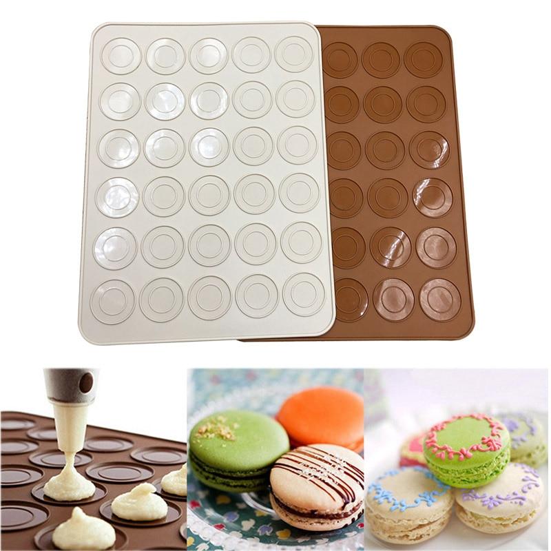 NEW Silicone Macaron Pastry Oven Baking Mould Sheet Mat 30-Cavity DIY Fondant Mold Silicone Baking Mat Color Random
