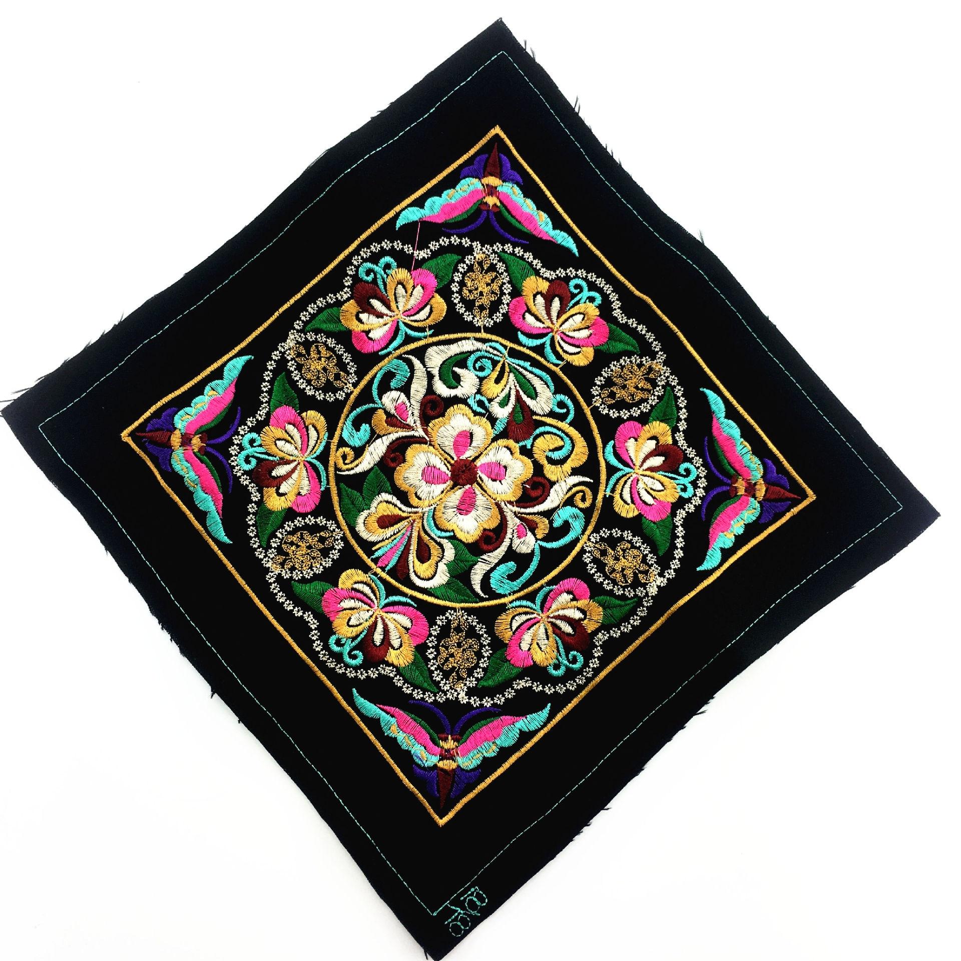 Большие квадратные патчи для вышивки, этнические Мяо-Патчи для шитья одежды, аксессуары для шитья, сумка для одежды, сделай сам, аппликация в...