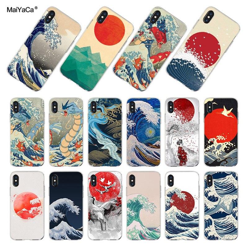 MaiYaCa arte de ola japonesa luz verde Coque teléfono casos para iPhone 11 Pro Max 8 7 6 6S Plus X XS X XR XSMAX