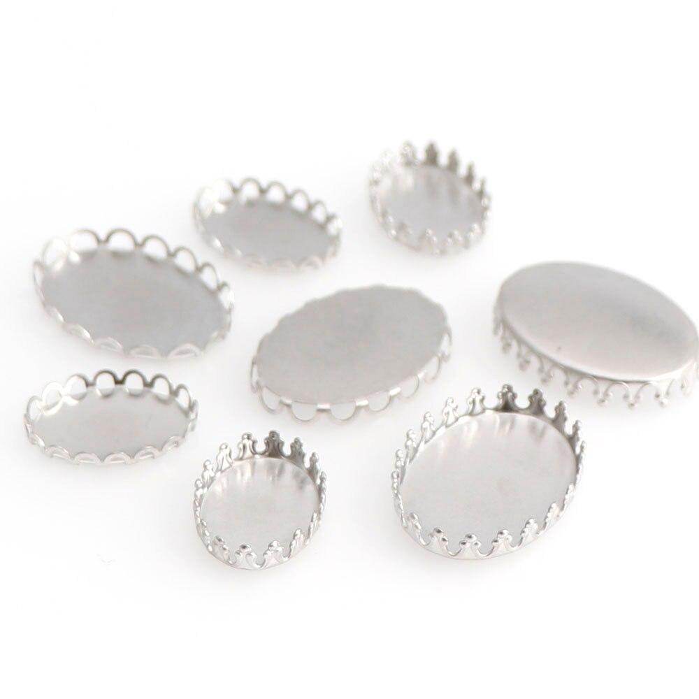 Collar de acero inoxidable ovalado de 2 tamaños 10 Uds., configuración de colgante, Base de cabujón de cristal, bandeja con bisel en blanco, cabujones, accesorios de fabricación de joyería