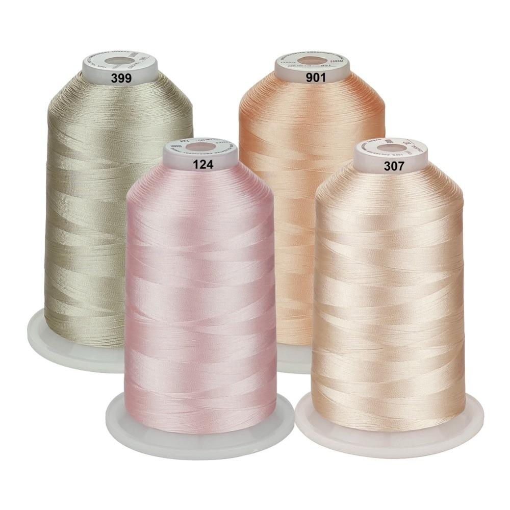 Simthreads-خيوط بوليستر لآلة التطريز ، 5500 ياردة لكل 4 ألوان ، 40wt لمعظم أجهزة الخياطة المنزلية