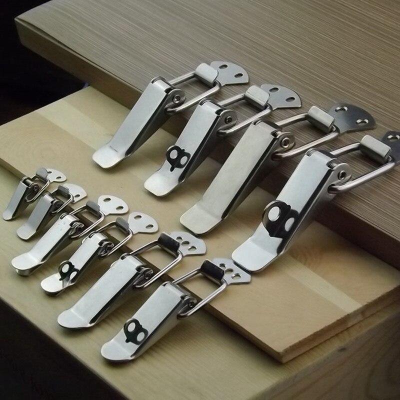 4 piezas/lote cierre de resorte de acero inoxidable cerrojo maleta pecho palanca cierre caja bisagra de herraje para muebles Accesorios