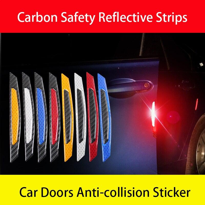 4pcs/set Universal Carbon Fiber Car Door Stickers Warning Mark Reflective Tape Safety Reflective Strips Anti-collision sticker