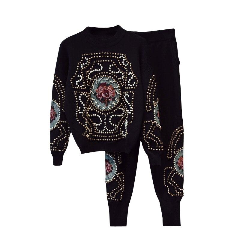 rivet pattern printed acrylic cotton blend knit women Oneck sweatshirts tracksuit pullover haroun pant 2pcs/set black M/L