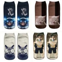 SLMVIAN 3D impression amour chat femmes chaussettes marque chaussette mode unisexe chaussettes chat motif Meias Feminina drôle basse cheville chaude