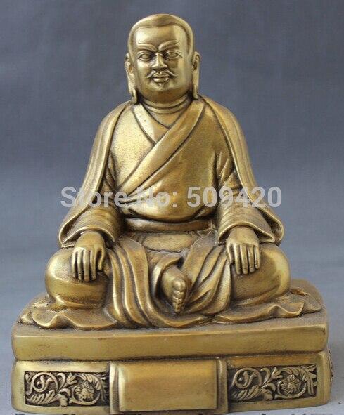 Antiguo budismo tibetano del Tíbet asiento gurú de latón Rinpoche Padmasambhava estatua de Buda
