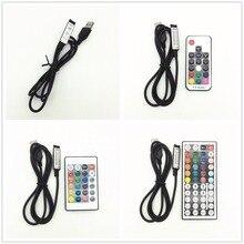 Contrôleur USB DC 5-24 V 6A RF télécommande sans fil variateur mini 3 touches 17/24/44 touches pour lumières de ampoules LED 5050/2835/3528 rvb