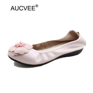 Spring 2021 Fashion Shallow Mouth Shoes Woman Super Soft Genuine Leather Flower Flats Slip On Pregnant Women Shoes Plus Size 44