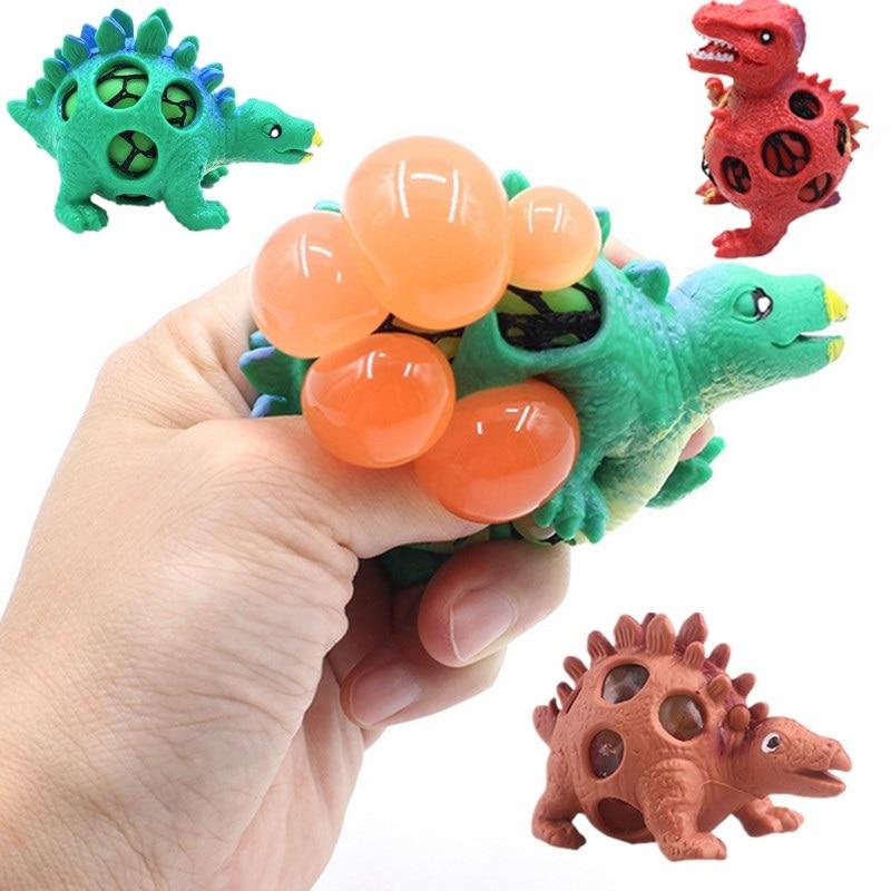 DROPSHIPPING dinosaurio Squishy Bola de malla uva Squeeze Relief Fidget autismo estrés juguetes Anti estrés dinosaurio uva bola niños Juguetes
