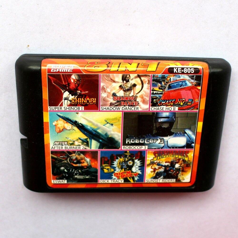 8em1 Shinobi + Shadow Dancer + Chase Hq II + Após Burner2 + RobCop3 + Eswat 16 bits da SEGA MD Cartão De jogo Para Sega Mega Drive Para Genesis