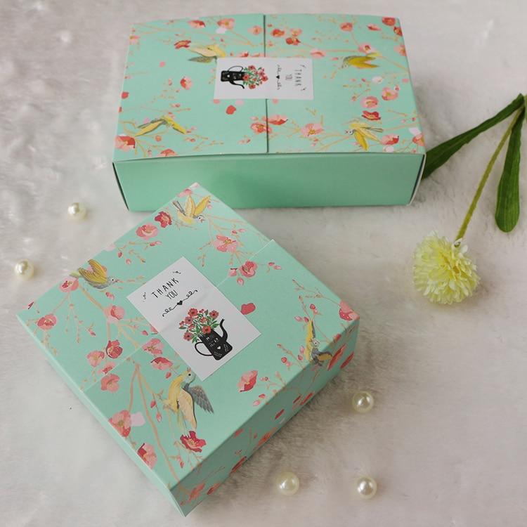 10 unids/lote flor Flora cuadrado verde galleta rectangular cajas coreano pequeño caja de Chocolate Macaron caja de embalaje de regalo
