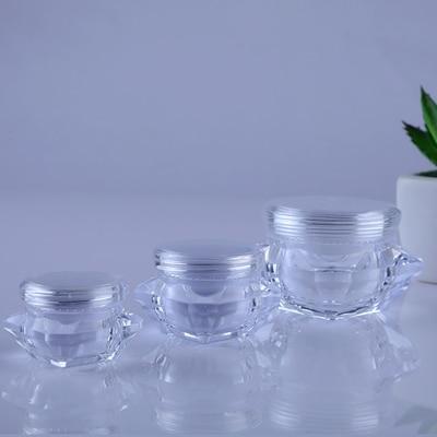 50 шт./лот 5g10g15g Маленькая прозрачная Алмазная форма маска бутылки Акриловая банка для крема контейнеры для упаковки образцов косметический ...