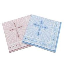 20 шт./лот, новинка, креативные бумажные салфетки с синим крестиком, милые салфетки, полотенце для вечеринки, украшения для церкви