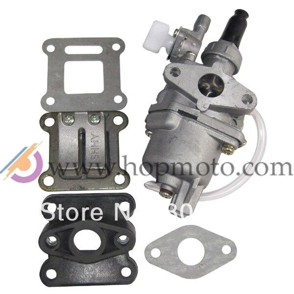 Válvula de palheta para carburador 47cc 49cc, mini atv/dirt bike, kit para bolso