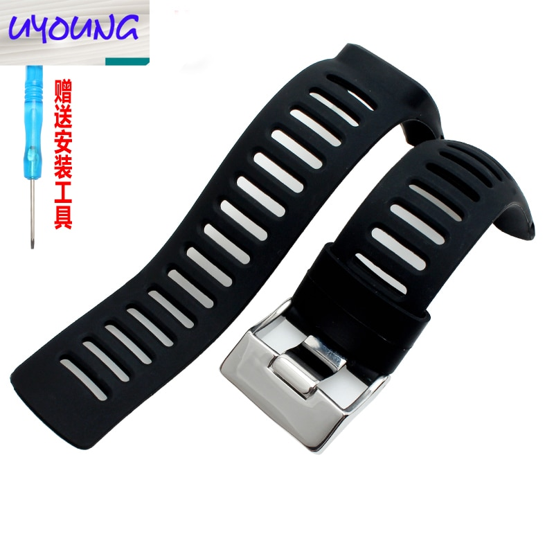 UYOUNG Silicone watch band with the soft black glue of the AMBIT series 1/2/3 of the sono SUUNTO