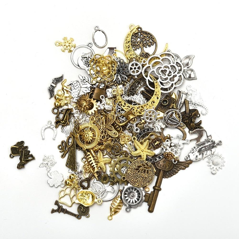 Abalorios variados de aleación de Zinc de 50 g/bolsa, accesorios de joyería Vintage, colgantes collares pulseras DIY, fabricación de aproximadamente 30-45 unidades por bolsa