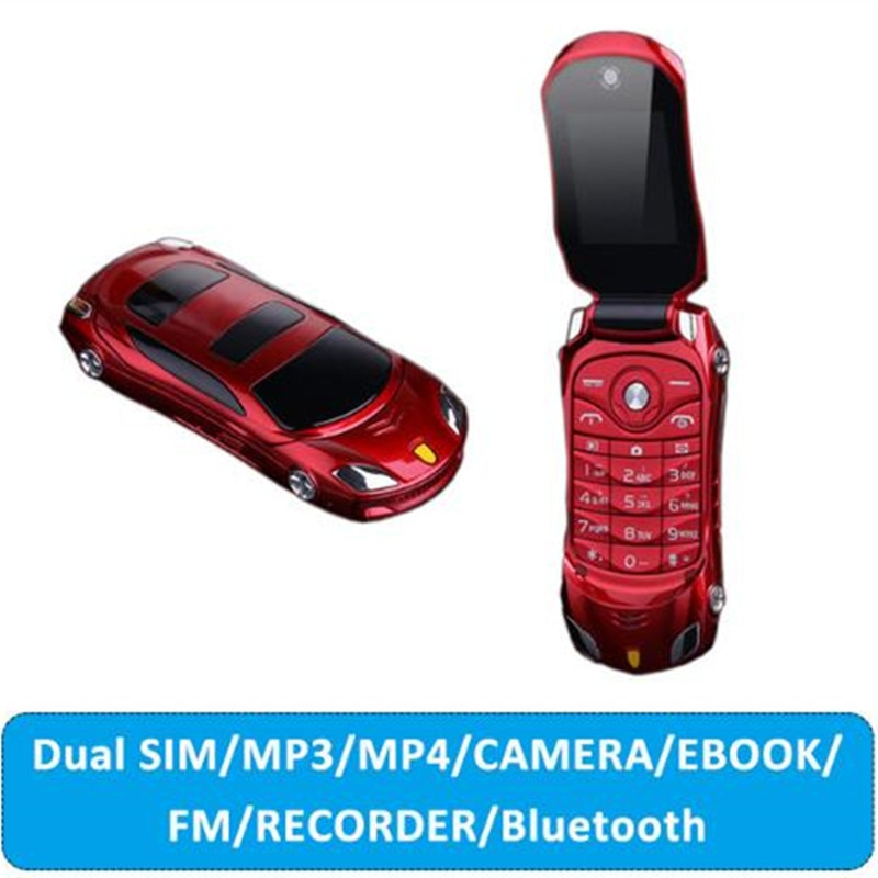 "Newmind F15 1.77"" Flip Car Shaped Mini Mobile Phone Dual SIM Card FM Radio Bluetooth LED 1500mAh Russian Keyboard Cell phones"