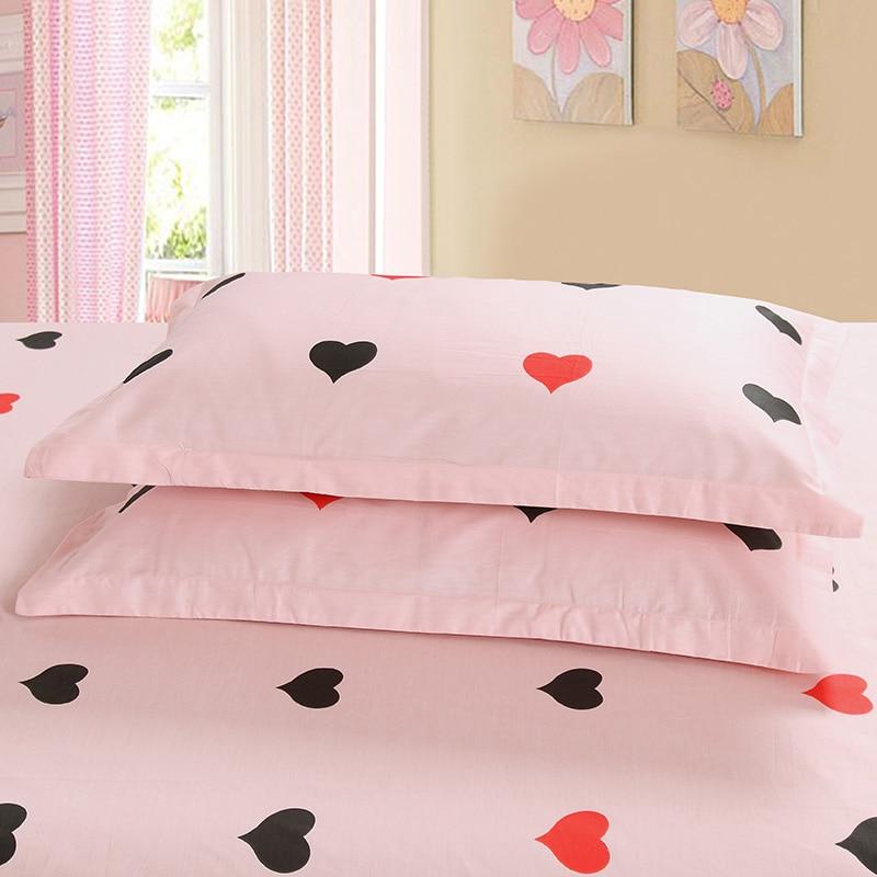 Cartoon pink pillowcase 100% cotton Good quality soft pillowcover 2pcs 48*74cm 30*50cm pillowslip 70*70cm RU family pillowcase