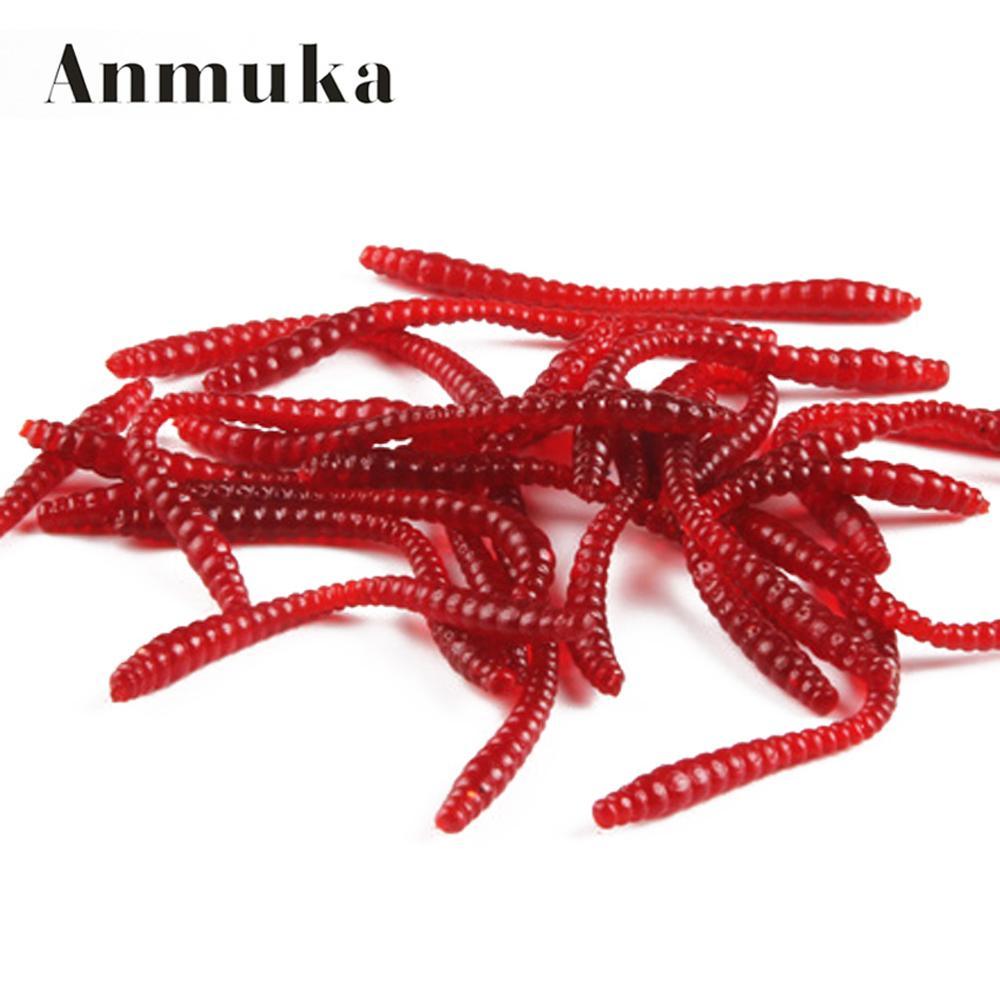 100 unids/lote 5,5 cm señuelo suave simulación de pesca lombriz rojo gusanos señuelo de pesca artificial aparejo realista olor de señuelos