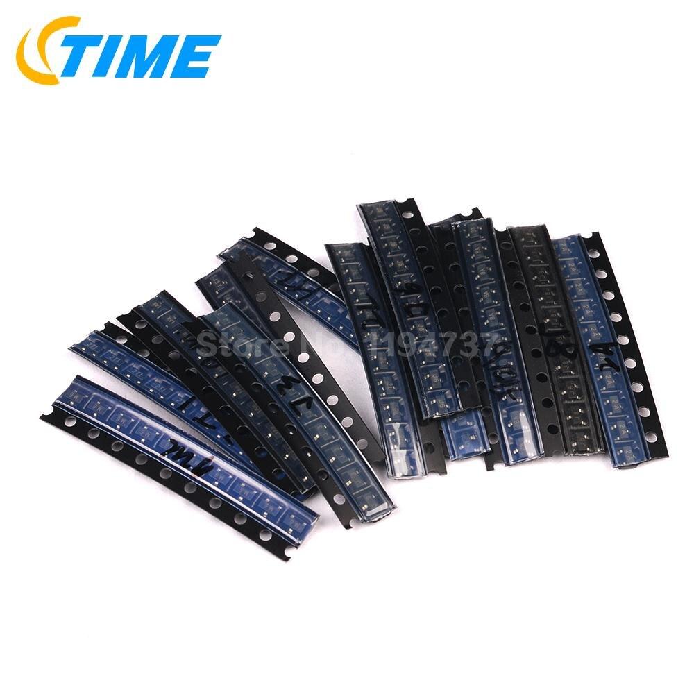 700 Uds 7 Valor cada 100 Uds MMBT2222 MMBT2907 MMBT3904 MMBT3906 MMBT4401 MMBT4403 MMBT5551 SOT-23 SMD Kit de transistores