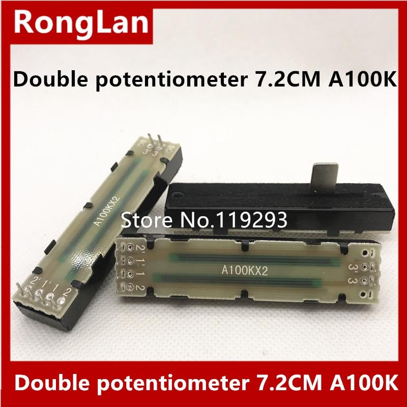 Behringer Mixers Slide Potentiometers double potentiometer 72MM 7.2CM A100K A50K  A50KX2 A100KX2 handle length 12MM--10PCS/LOT