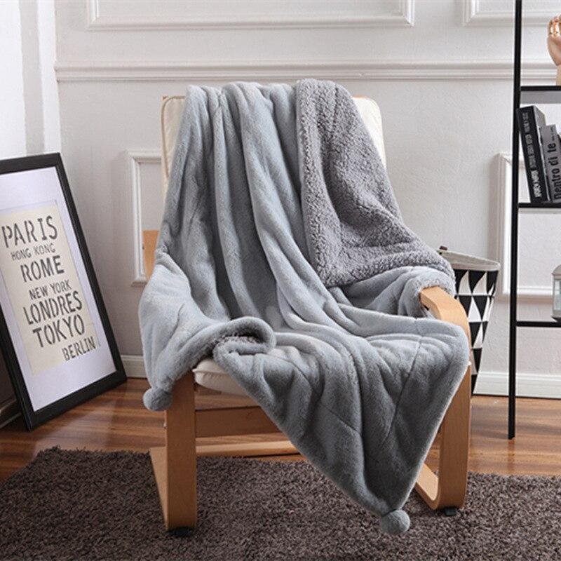 Rabbit Fur Lamb Fleece Blankets Balls Chunky Knit Blanket vs pink Bedding Throw Blanket Thick Warm Sofa Blanket for Sofa Car