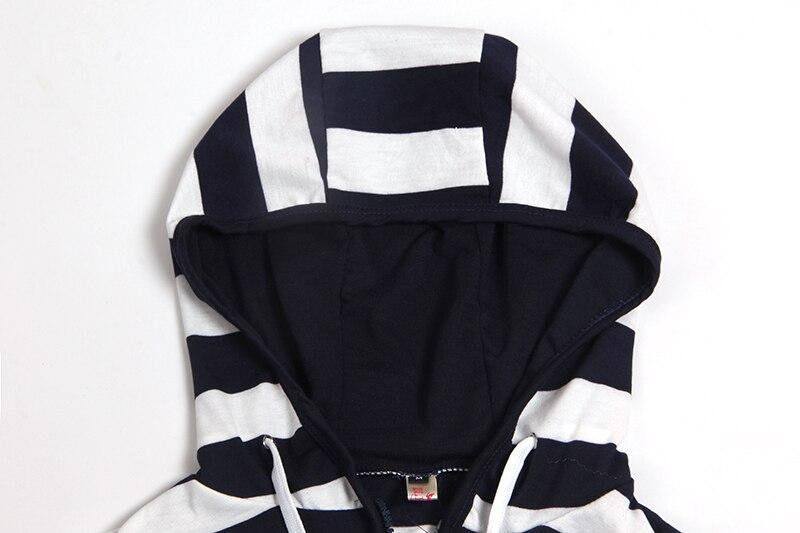 Moda damska Stripes Casual Zipper Bluzy Z Kapturem Kieszeni Kobiety Bluza Plus Rozmiar S-5XL LJ7847R 12