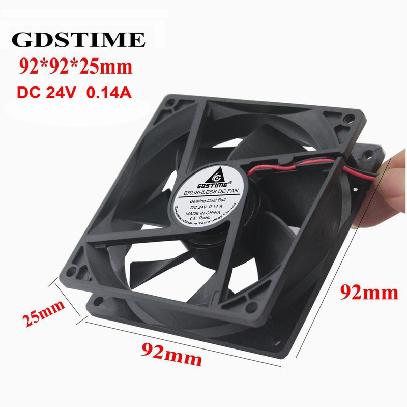 Gdstime 2 Pieces Two Ball Bearing 90mm DC Cooling Fan 24V 2-Wire PC Computer CPU Cooler 92mm 92*92*25mm 9cm